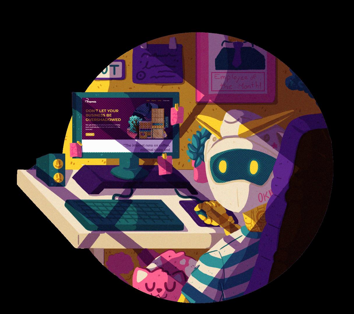 Thingamajig Robot Illustration Contact